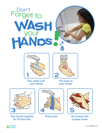 "Wash Your Hands"" Poster for Kids - SchoolFamily"
