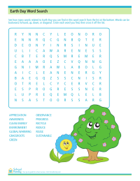 Earth Day Word Search Worksheet