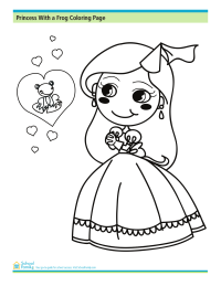 Princess With a Frog Coloring Page
