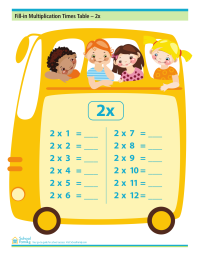 Fill-in Multiplication Times Table  - 2x (no answers)