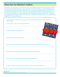 Chinese New Year Reading Comprehension Worksheet