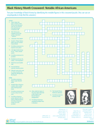 photograph about Black History Crossword Puzzle Printable named Black Background Thirty day period Worksheets - SchoolFamily
