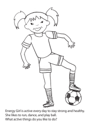 fitness coloring pages. Energy Girl Coloring Page Health and Fitness Pages  SchoolFamily