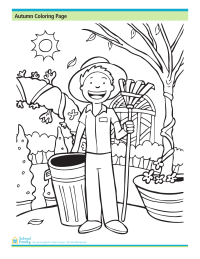 Fall Coloring Page: Time to Rake the Leaves