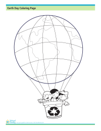 Earth Day Coloring Page: Earth as Hot Air Balloon