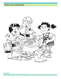 Mother's Day Coloring Page: Making a Cake