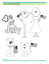 4th of July Coloring Page: Kids and Animals Holding Flags