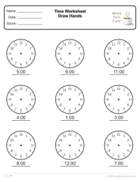 Time Worksheet--Clock Faces