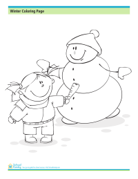 Winter Coloring Page: Snowman