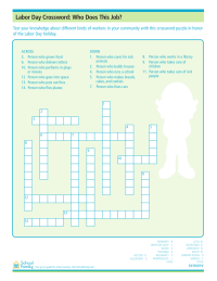 Labor Day Crossword Puzzle Worksheets: Who Does This Job?