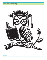 Graduation Coloring Page: Owl With Cap