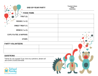 Classroom Party Sign-Up Sheet: End of Year