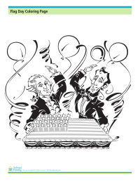 Flag Day Coloring Page: Celebrating with a Flag Cake