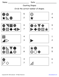 Counting Shapes Math Worksheet