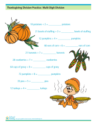 Thanksgiving Division Practice: Multi-Digit Division