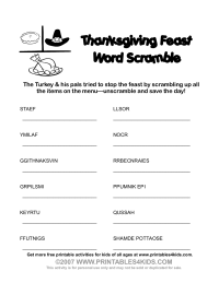 Thanksgiving Feast Word Scramble