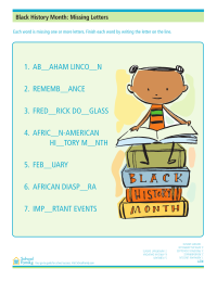 Black History Month Worksheet: Missing Letters