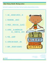 Black History Month Worksheet: Missing Letters