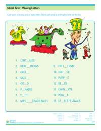 Mardi Gras Worksheet: Missing Letters