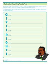 Martin Luther King, Jr., Day Acrostic Poem