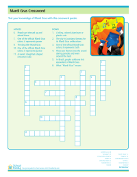 Mardi Gras Crossword Puzzle