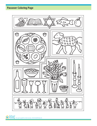 Passover Coloring Page: Passover Symbols