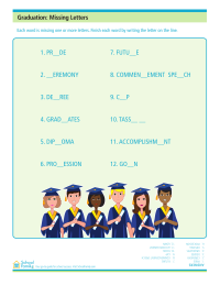 Graduation Day Missing Letters Worksheet