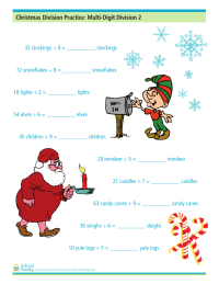 Christmas Division Practice: More Multi-Digit Division