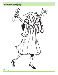 Graduation Coloring Page: Happy Graduate Holding Diploma