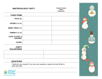 Classroom Party Sign-Up Sheet: Winter/Holiday