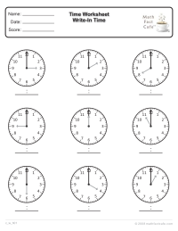 Time Worksheet: Write in the Time