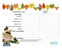 Classroom Party Sign-Up Sheet: Harvest/Fall