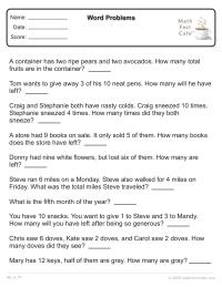 math worksheet : math word problems  schoolfamily : Math Fact Cafe Worksheets