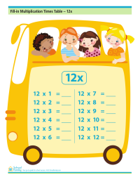 Fill-in Multiplication Times Table - 12x (no answers)