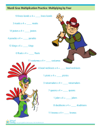 Mardi Gras Multiplication Practice: Multiplying by Four