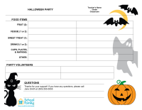 Classroom Party Sign-Up Sheet: Halloween