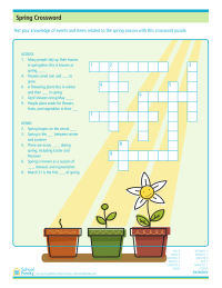 image relating to Spring Crossword Puzzle Printable referred to as Spring Crossword Puzzle - SchoolFamily