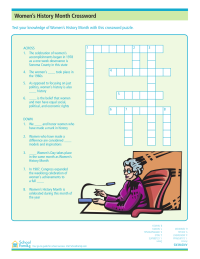 Women's History Month Crossword Puzzle: Accomplishments and Milestones