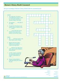 Women's History Month Crossword Puzzle: Accomplishments and Milestones