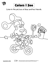 Blue Bicycling Coloring Page