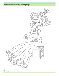 Princess at a Tea Party Coloring Page
