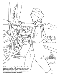 children on the oregon trail coloring page