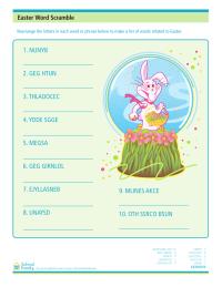 Easter Word Scramble Worksheet