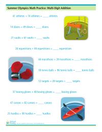 Summer Olympics Math Practice: Multi-Digit Addition