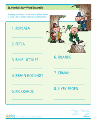 St. Patrick's Day Word Scramble Worksheet