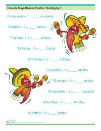 Cinco de Mayo Division Practice: Dividing by Five