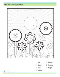 May Day Color by Numbers Worksheet