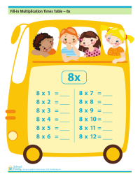 Fill-in Multiplication Times Table - 8x (no answers)