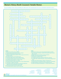Women's History Month: Notable Women Crossword Puzzle