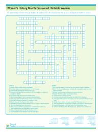 Women's History Month: Notable Women Crossword Puzzle